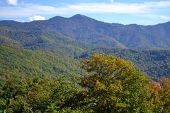 Appalachian Mountain Scene-17. Early fall (October) in the Smokey Mountains on a crisp, clear day Royalty Free Stock Photo