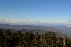 Appalachian Mountain Scene-22. Early fall (October) in the Smokey Mountains on a crisp, clear day. This is in the higher elevations where fir trees abound Stock Photography