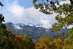 Appalachian Mountain. Scene with Orange & Yellow fall  leaves in Southern Highlands Stock Photography