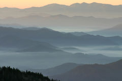 Appalachian Mountain Vista. Beautiful shot of mountain layers with fades and fog Stock Image