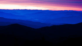 Appalachian Mountains. City Lights twinkle below the Appalachian Mountains during sunrise royalty free stock photos