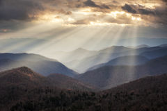 Appalachian Mountains Crepuscular Light Rays on Blue Ridge Parkway Ridges NC. Travel destination scenic in Western North Carolina Royalty Free Stock Photography