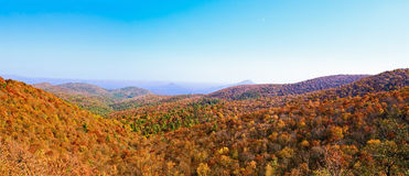 Appalachian Mountains. Panorama of the great smoky mountains in Appalachia during autumn in northern Georgia Stock Image