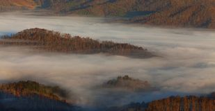 Appalachian mountains at sunrise and clouds Stock Image
