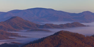 Appalachian mountains at sunrise and clouds Royalty Free Stock Image