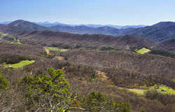 Appalachian Mountains in Virginia. A view of the Allegheny Mountains near Roanoke, Virginia...photo taken from the Dragon`s Tooth hiking trail along a portion of royalty free stock image