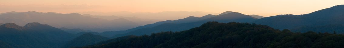 Appalachian Sunset Panorama. Sunset from the heights of Newfound Gap in the Smoky Mountains National Park, USA.  A stitched panorama of ~31 Megapixels Royalty Free Stock Photos