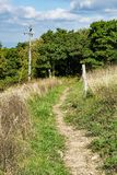 Appalachian Trail on Apple Orchard Mountain. Appalachian Trail in a meadow located on the summit of Apple Orchard Mountain, Bedford County, Virginia, USA royalty free stock photography