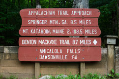 Appalachian Trail Approach Sign. A painted sign gives the distance to Maine from Georgia on the Appalachian Trail royalty free stock photos