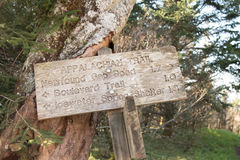 Appalachian Trail Distance Sign Leans Against Tree Royalty Free Stock Photos