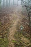 Appalachian Trail in the Fog. A view of the Appalachian Trail in the fog located on the Blue Ridge Parkway, Bedford County, Virginia, USA royalty free stock photo