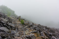 Appalachian Trail Jagged Rocks Dropping Off into Fog Stock Photos
