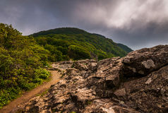 The Appalachian Trail, on Little Stony Man Cliffs in Shenandoah National Park Royalty Free Stock Image
