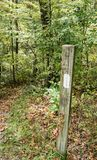 Appalachian Trail Marker. Trail marker located on the Appalachian Trail in Giles County, Virginia, USA royalty free stock photo