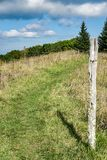Appalachian Trail on Apple Orchard Mountain. Appalachian Trail in a meadow located on the summit of Apple Orchard Mountain, Bedford County, Virginia, USA stock images