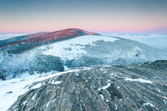 Appalachian Trail Roan Highlands Winter Sunrise Stock Photos