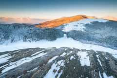 Appalachian Trail Roan Highlands Winter Sunrise Stock Images