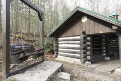 Appalachian trail shelter in Pennsylvania. Quarry Gap Shelter on Appalachian Trail on sunny day stock photos