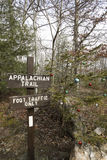 Appalachian trail sign with Christmas ornaments on tree. Signage along Appalachian Trail in Pennsylvania next to tree decorated with Christmas ornaments Royalty Free Stock Photo