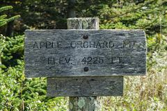 Appalachian Trail Sign on Top of Apple Orchard Mountain. Appalachian Trail sign on the summit of Apple Orchard Mountain that states the elevation of Apple royalty free stock image