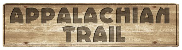 Appalachian trail wood sign carved. Trailhead hiking camping etched vintage marker old antique royalty free illustration