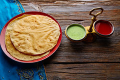 Appalam or Papadam brad and sauces. Appalam or Papadam brad with red and green sauces from Indian food papad Stock Image