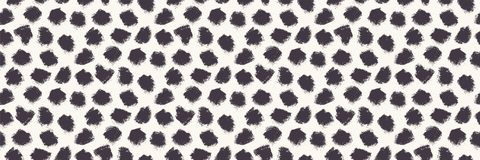 Appaloosa Imperfect Polka Dot Spots Seamless Border Pattern. Doodle Brushstroke Dotted Animal Skin Background in
