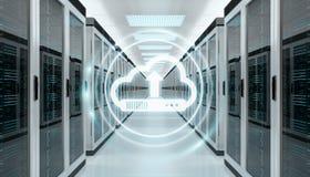 Appanni i dati di caricamento di programmi oggetto dell'icona nella rappresentazione del centro 3D della stanza del server Fotografia Stock Libera da Diritti