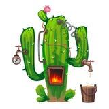 Apparat av kaktuns som lagar mat alkoholdrycken stock illustrationer