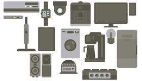 Apparat för stil för fastställda grejer för färg för tryck gråa smarta plan royaltyfri illustrationer