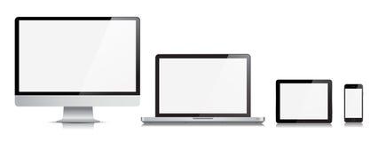 Apparat för vektor för telefon för minnestavla för bildskärmdatorbärbar dator Royaltyfri Fotografi