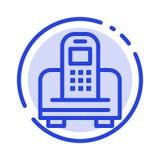 Apparat mobil, cell, blå prickig linje linje symbol för maskinvara royaltyfri illustrationer