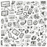 Apparaten, computers - geplaatste krabbels vector illustratie