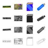 Apparaten, delar, delar och annan rengöringsduksymbol i tecknad film utformar Dator bärbar dator, kontor, symboler i uppsättnings Arkivbild