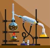 Apparaten voor distillatie, reiniging en scheiding van volat Royalty-vrije Stock Foto's