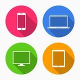 Apparatenpictogrammen: smartphone, tablet, laptop en bureaucomputer royalty-vrije illustratie