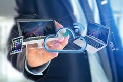 Apparater gillar smartphonen, minnestavlan eller datoren som flyger över connecte Royaltyfri Foto