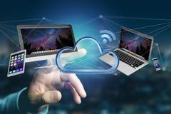 Apparater gillar smartphonen, minnestavlan eller datoren som flyger över connecte Arkivbilder