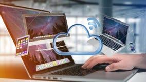Apparater gillar smartphonen, minnestavlan eller datoren som flyger över connecte Royaltyfria Bilder