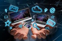 Apparater gillar smartphonen, minnestavlan eller datoren som flyger över connecti Arkivbilder