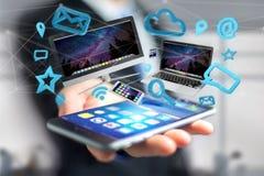 Apparater gillar smartphonen, minnestavlan eller datoren som flyger över connecti Royaltyfri Bild