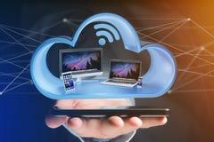 Apparater gillar smartphonen, minnestavlan eller datoren som visas i ett moln Arkivfoto