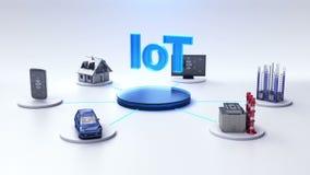 Apparater och symbolen förbinder IoT, konstgjord intelligens E vektor illustrationer