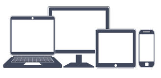 Apparatsymboler, ilar telefonen, minnestavlan, bärbara datorn och den skrivbords- datoren Arkivbild