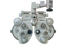 Apparatur för mätningen av vision som isoleras på vit bakgrund arkivfoto