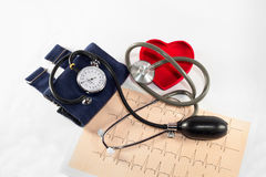 Apparatus pressure. The pressure gauge to control our blood pressure Royalty Free Stock Image