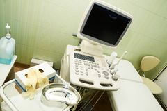 Apparatus ultrasound examination. Medical research. Work in hospital. Healthy people.  Royalty Free Stock Photography