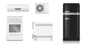 Apparecchi elettrici domestici Condizionamento d'aria, radiatore elettrico dell'olio, frigorifero con retro progettazione, stufa  Fotografia Stock