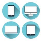 Apparecchi elettronici moderni Insieme dell'icona Fotografia Stock Libera da Diritti