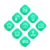 Apparecchi, linea icone di prodotti elettronici di consumo messe illustrazione di stock
